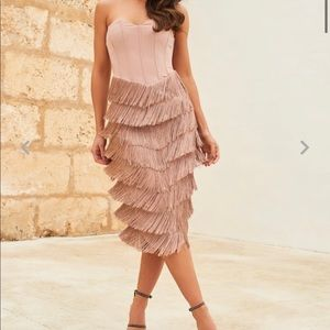 Lavish Alice corset bandeau fringe midi dress